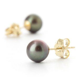 14K. SOLID GOLD STUD EARRINGS WITH BLACK PEARLS